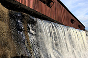 Rural Indiana Prints - Bridgeton Covered Bridge and Waterfall no 1 Print by Alan Look