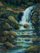 Waterfall Pastels Posters - Bridle Veil Falls Poster by Billie Colson