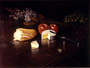 Brie Prints - Brie   Bread  Fruit and Flowers Print by David Olander