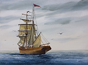 Print Making Paintings - Brigantine Making Sail by James Williamson