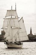 Yacht Photo Originals - Brigantine Tallship Fritha Sailing Charleston Harbor by Dustin K Ryan