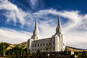 Utah Posters - Brigham City Temple NW Poster by La Rae  Roberts
