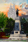 Salt Lake Painting Prints - Brigham Young Monument Print by Lester Nielsen