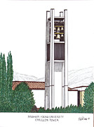 University Carillon Artwork Mixed Media - Brigham Young University by Frederic Kohli