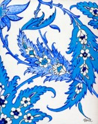 Turkish Paintings - Bright blue paisley by Pamir Thompson