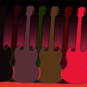 Electric Framed Prints Prints - Bright colored guitars Print by Lj Lambert