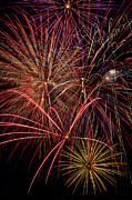 Independence Day Metal Prints - Bright Colorful Fireworks Metal Print by Garry Gay
