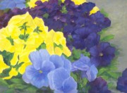 K Joann Russell Art - Bright Colorful Flowers Painting of Pansies Floral Art by K Joann Russell