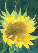 K Joann Russell Art - Bright Colorful Sunflower Watercolor by K Joann Russell