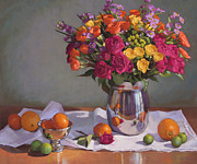 Vase Pastels Prints - Bright Colors on a White Cloth Print by Sarah Blumenschein