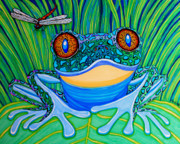 Whimsical Frogs Posters - Bright Eyes 2 Poster by Nick Gustafson