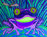 Whimsical Frogs Posters - Bright Eyes 3 Poster by Nick Gustafson