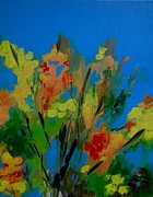 Judy Swerlick - Bright Flowers on Blue