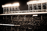 Friendly Confines Posters - Bright Lights of Wrigley Field Poster by Anthony Doudt