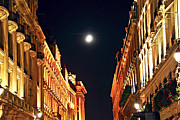 Night Cafe Photo Prints - Bright moon in Paris Print by Elena Elisseeva