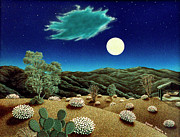 Surreal Landscape Painting Metal Prints - Bright Night Metal Print by Snake Jagger