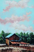 Old Barns Paintings - Bright Orange  by Denny Stevenson