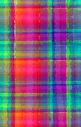 Bright Colors Metal Prints - Bright Plaid Metal Print by Louisa Knight