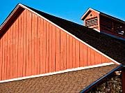 Old Barns Photo Originals - Bright red barn by Marilyn Hunt