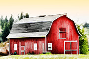 Farmyard Digital Art Posters - Bright Red Barn Poster by Tracie Kaska
