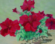 K Joann Russell Art - Bright Red Flowers Art Brilliant Petunias Floral by K Joann Russell