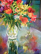 Glass Table Reflection Painting Metal Prints - Bright Reflections Metal Print by Reveille Kennedy