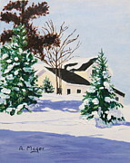 Snowscape Paintings - Bright Silent Morning by Alan Mager