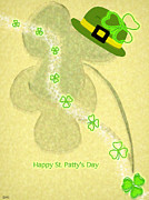 Patricks Day Card Framed Prints - Bright St.pattys Day Card Framed Print by Debra     Vatalaro