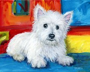 Terrier Art Painting Metal Prints - Bright Westie Metal Print by Dottie Dracos