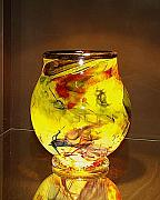 Bowl Glass Art - Bright Yellow Bowl by Barbara  Streeter