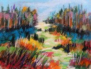 Print On Paper Pastels Posters - Brightening Hillside Poster by John  Williams