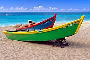 Aguadilla Prints - Brightly Painted Fishing Boats on a Caribbean Beach Print by George Oze