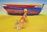 Sun Hat Posters - Brightly Painted Wooden Boats With Terrier and Friend Poster by Charles Stuart