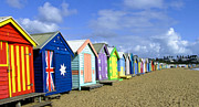 Beach Huts Digital Art Prints - Brighton Beach Huts Print by Pauline  Tims