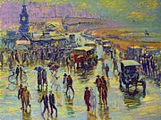Shoreline Old Men Paintings - Brighton on a Rainy Day by Robert Tyndall