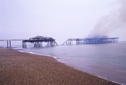Deliberate Metal Prints - Brighton West Pier On Fire Metal Print by Carlos Dominguez
