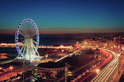Ferris Wheel Posters - Brighton Wheel And Seafront Lit Up At Night Poster by PhotoMadly