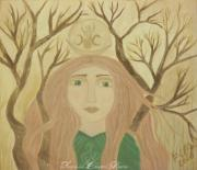 Beige Paintings - Brigid Celtic Goddess by Sacred  Muse