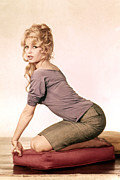 Plaid Skirt Framed Prints - Brigitte Bardot, 1960s Framed Print by Everett