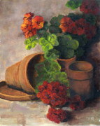 Red Geraniums Prints - Brilliant Geraniums Print by Marlene Kingman