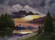 Brilliant Paintings - Brilliant Mountain Sunset by Gail Darnell