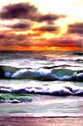 Outer Banks Paintings - Brilliant Nags Head Sunrise by Elaine Plesser