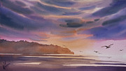Landscape Greeting Card Painting Originals - Brilliant Sunset by James Williamson