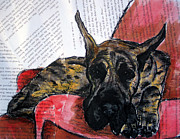 Great Dane Paintings - Brindle Great Dane on Couch by Christas Designs