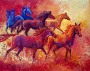Dust Painting Framed Prints - Bring the Mares Home Framed Print by Marion Rose