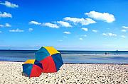 Beach Scenes Photo Posters - Bring the umbrella with you Poster by Susanne Van Hulst