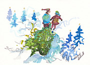Christmas Notecard Originals - Bringing Christmas Home Again by Michele Hollister - for Nancy Asbell