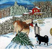Snow Dog Tapestries - Textiles Posters - Bringing Home the Tree Poster by Linda Marcille
