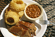 American Food Prints - Brisket, Beans, & Rings At Famous Sonny Print by Richard Nowitz