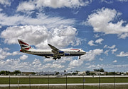 After The Rain Photo Prints - British Airways aircraft about to land. Miami. FL. USA Print by Juan Carlos Ferro Duque